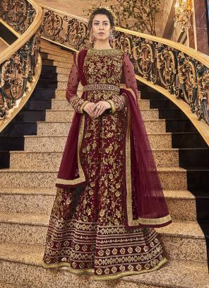 Wedding Wear Coding Work Maroon Net Anarkali Suit