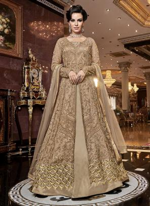 Wedding Wear Embroidery Work Beige Net Anarkali Suit