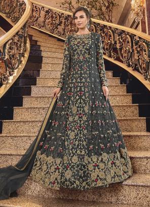 Wedding Wear Embroidery Work Black Net Anarkali Suit