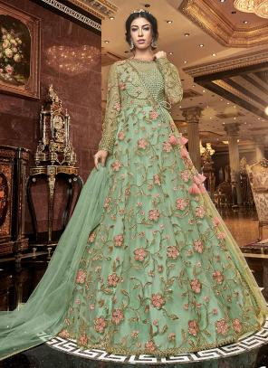 Wedding Wear Embroidery Work Light Green Net Anarkali Suit