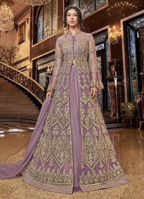 Wedding Wear Embroidery Work Light Violet Net A Line Suit