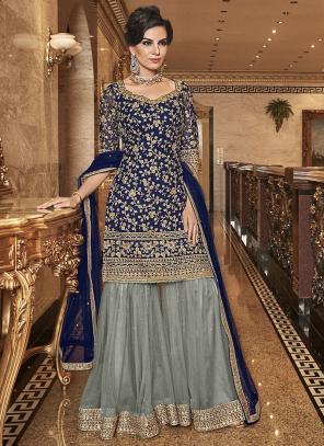 Wedding Wear Embroidery Work Navy Blue Net Sharara Suit