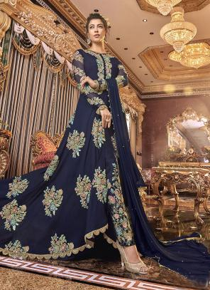 Wedding Wear Embroidery Work Navy Blue Satin Silk Anarkali Suit