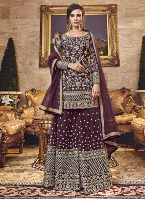 Wedding Wear Embroidery Work Purple Net Sharara Suit