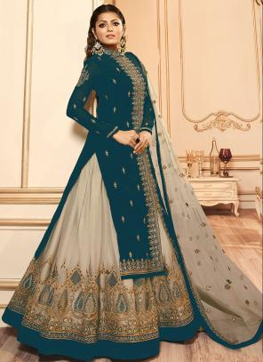 Traditional Wear Embroidery Work Rama Faux Georgette Lehenga Suit