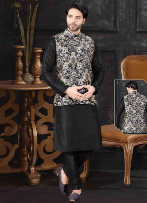 Festival Wear Black Silk Printed Work Kurta Pajama With Jacket