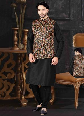 Black Silk Printed Work Festival Wear Kurta Pajama With Latest Jacket