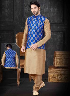 Blue Silk Festival Wear Printed Work Kurta Pajama With Jacket