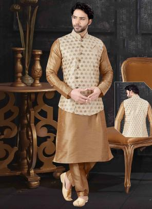 Cream Silk Festival Wear Printed Work Kurta Pajama With Jacket