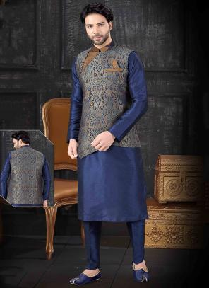 Navy Blue Silk Festival Wear Printed Work Kurta Pajama With Jacket