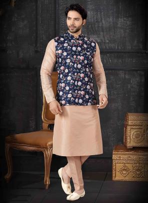 Peach Silk Festival Wear Printed Work Kurta Pajama With Jacket