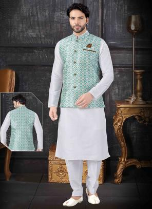 Festival Wear Printed Work White Silk Kurta Pajama With Jacket