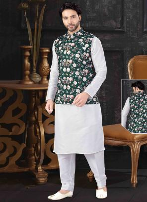 Festival Wear White Silk Printed Work Kurta Pajama With Jacket