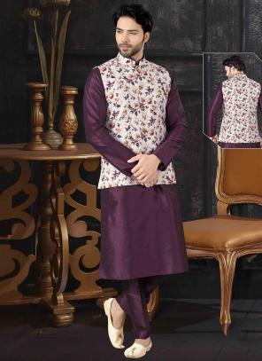 Wine Silk Festival Wear Printed Work Kurta Pajama With Jacket