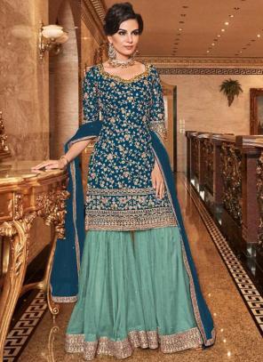 Bridal Wear Blue Net Heavy Embroidery Work Sharara Suit