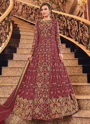 Bridal Wear Dark Pink Net Heavy Embroidery Work Abaya Suit
