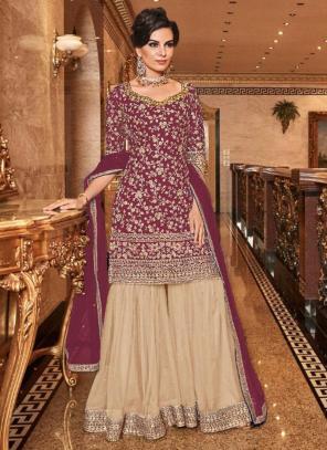 Bridal Wear Dark Pink Net Heavy Embroidery Work Sharara Suit