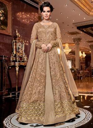 Bridal Wear Golden Net Heavy Embroidery Work Abaya Suit