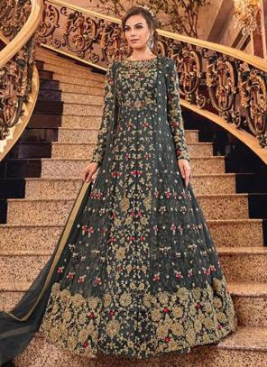 Bridal Wear Grey Net Heavy Embroidery Work Abaya Suit