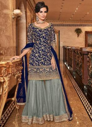 Bridal Wear Navy Blue Net Heavy Embroidery Work Sharara Suit