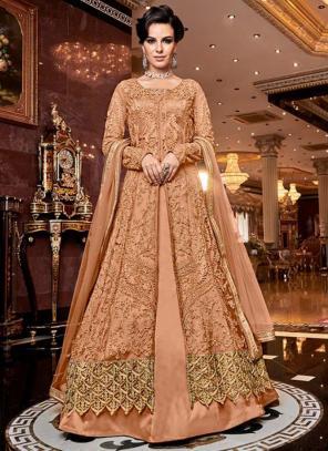 Bridal Wear Peach Net Heavy Embroidery Work Abaya Suit