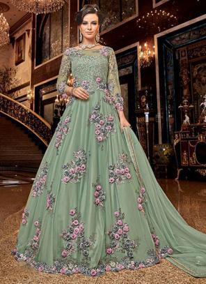 Bridal Wear Pista Green Net Heavy Embroidery Work Anarkali Suit