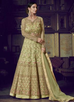Wedding Wear Light Green Net Diamond Work Anarkali Suit