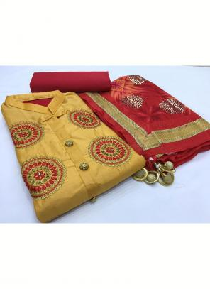 Daily Wear Golden Embroidery Work Glace Cotton Salwar Suit