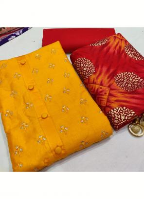 Daily Wear Mustard Embroidery Work Glace Cotton Salwar Suit