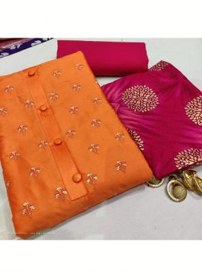 Daily Wear Orange Embroidery Work Glace Cotton Salwar Suit