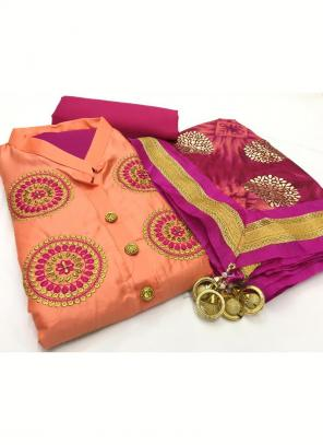 Daily Wear Peach Embroidery Work Glace Cotton Salwar Suit