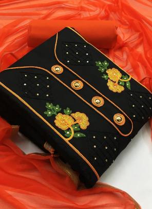 Casual Wear Orange Embroidery Work Indo Cotton Salwar Suit