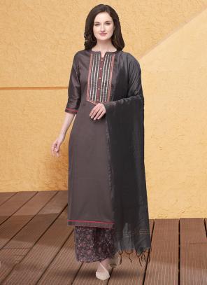 Casual Wear Grey Gota Patti Work Jam Cotton Silk Palazzo Suit