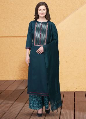 Casual Wear Rama Gota Patti Work Jam Cotton Silk Palazzo Suit