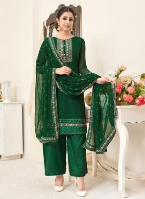 Festival Wear Green Embroidery Georgette Palazzo Suit