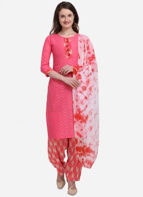 Regular Wear Dark Pink Printed Cotton Salwar Suit