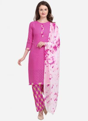 Regular Wear Pink Printed Work Cotton Salwar Suit