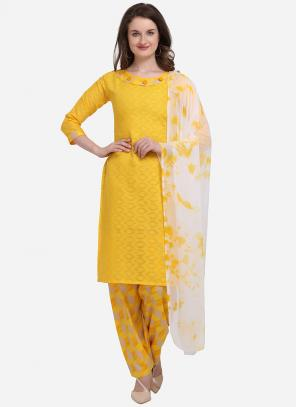 Regular Wear Yellow Printed Cotton Salwar Suit