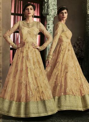 Reception Wear Beige Heavy Embroidery Work Net Anarkali Suit