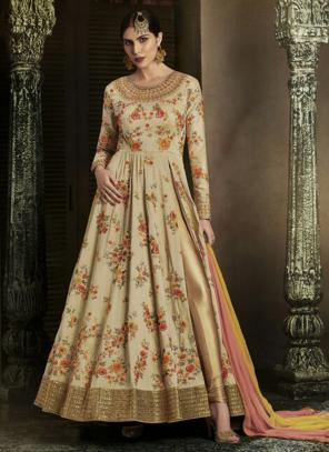 Reception Wear Cream Heavy Embroidery Work Handloom Silk Salwar Suit