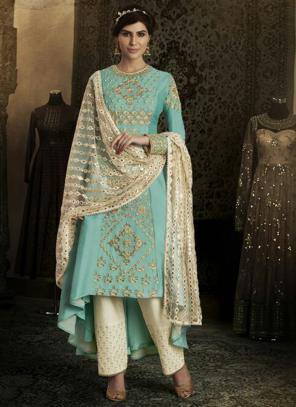 Reception Wear Firozi Heavy Embroidery Work Silk Salwar Suit