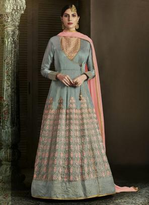 Reception Wear Grey Heavy Embroidery Work Slub Silk Salwar Suit