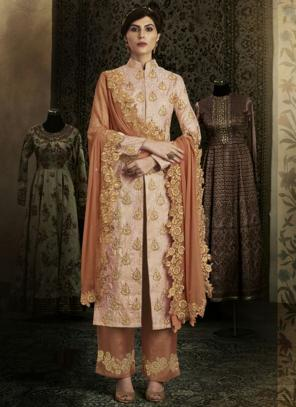Reception Wear Peach Heavy Embroidery Work Brocade Silk Salwar Suit