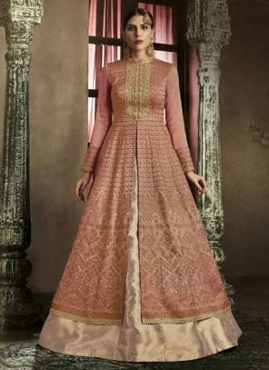 Reception Wear Pink Heavy Embroidery Work Slub Silk Anarkali Suit