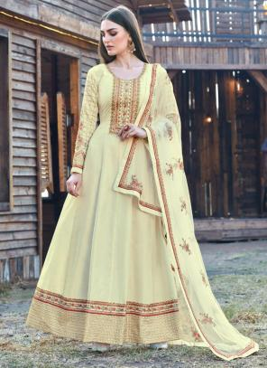 Festival Wear Cream Embroidery Work Dola Silk Anarkali Suit