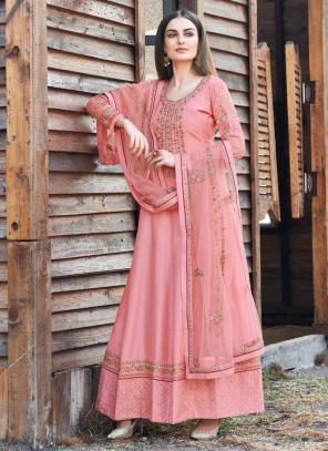 Festival Wear Pink Embroidery Work Dola Silk Anarkali Suit