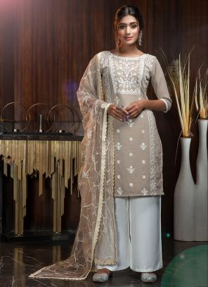 Party Wear Beige Diamond Work Georgette Palazzo Suit