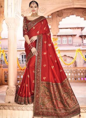 Party Wear Red Kashmiri Work Dola Silk Saree