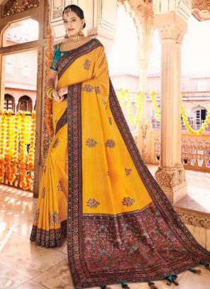 Party Wear Yellow Kashmiri Work Dola Silk Saree