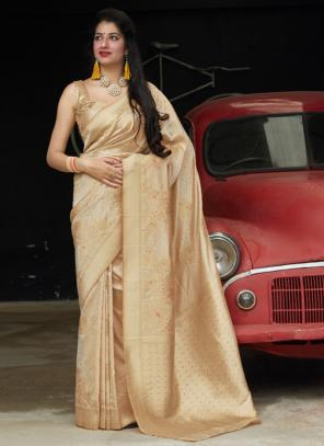 Wedding Wear Beige Weaving Silk Heavy Saree